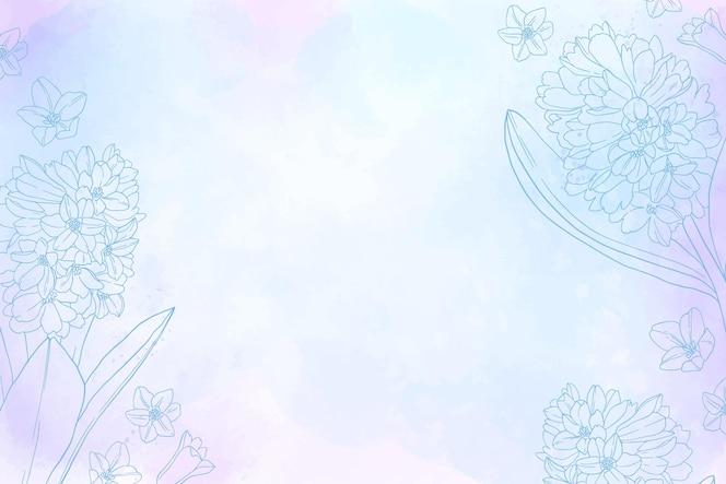 自然の要素が描かれた単色の手描きの背景