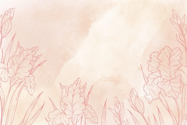 Monochromatic hand painted background with drawn nature elements