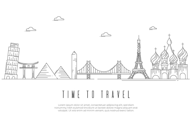 Monochromatic landmarks skyline outline design