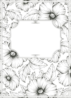 Monochromatic outline botanical illustration, background with mallow flowers and leafs.