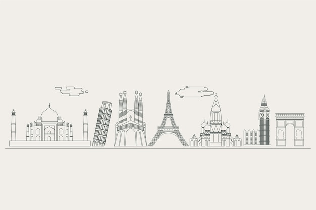 Monochromatic outline landmarks skyline concept