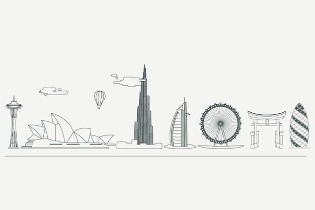 Monochromatic outline landmarks skyline design