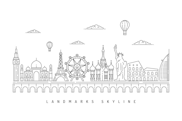 Monochromatic outline landmarks skyline theme