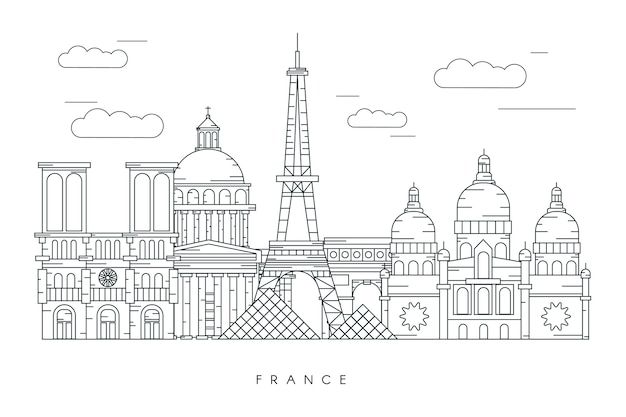 Monochromatic outline landmarks skyline