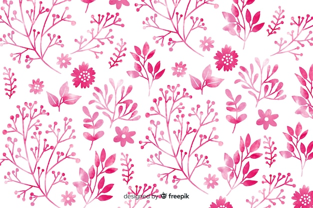 Monochromatic pink watercolor flowers background