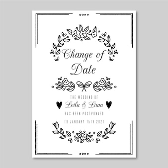 Monochromatic postponed wedding card template Free Vector