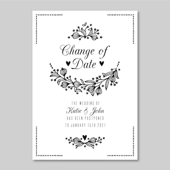 Monochromatic postponed wedding card