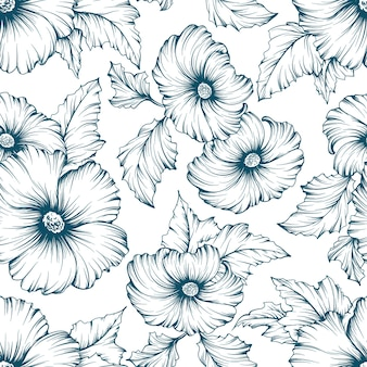 Monochromatic seamless floral pattern. outline mallow flowers hand drawn background.