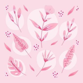 花と単色の熱帯の葉
