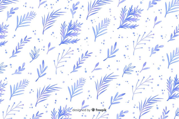 Monochromatic watercolour blue flowers background