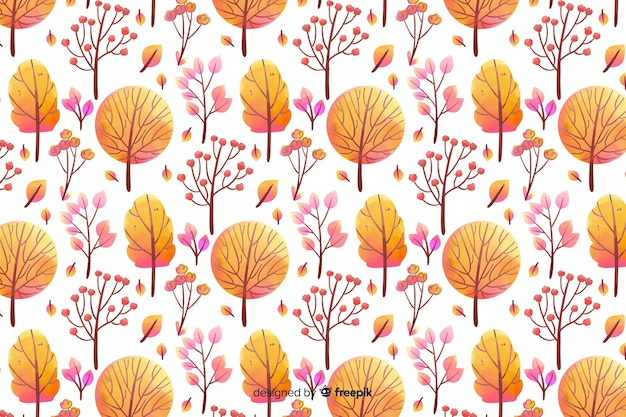 Monochromatic watercolour flowers background in orange shades