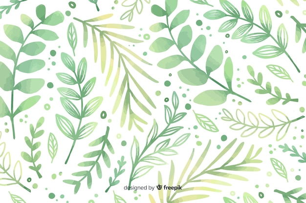 Monochromatic watercolour green flowers background