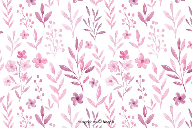 Monochromatic watercolour pink flowers background