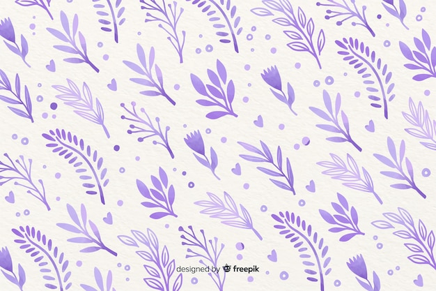 Monochromatic watercolour violet flowers background