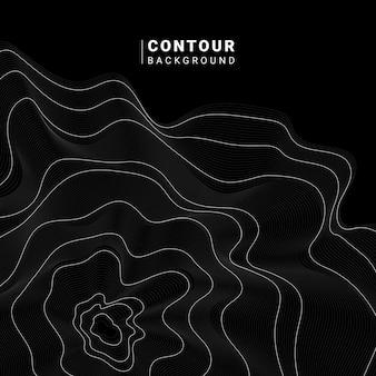 Monochrome abstract contour line illustration