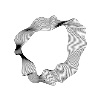 Monochrome abstract contour lines collection