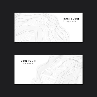 Monochrome abstract contour lines set