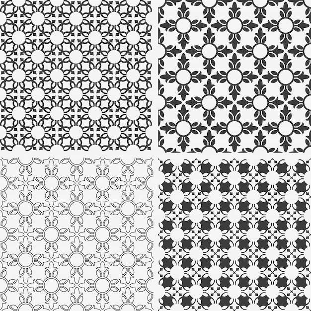 Monochrome abstract floral seamless patterns