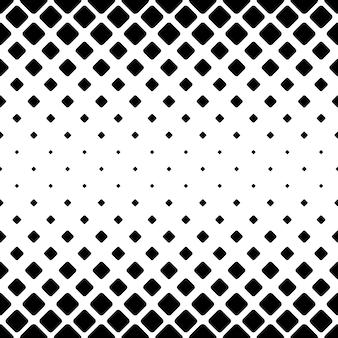 単色の抽象的な正方形のパターンの背景 - 斜めの丸い四角からの白黒の幾何学的なベクトルデザイン