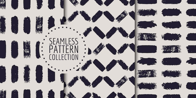 Monochrome abstract strokes seamless pattern collection