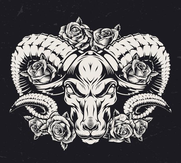 Монохромная агрессивная концепция татуировки баранов