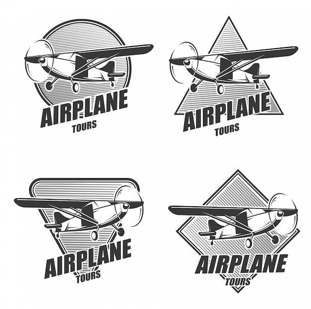 Monochrome aircraft logos set for airplane tours.