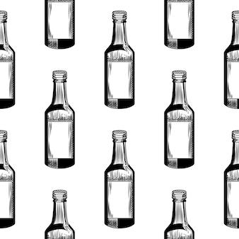 흰색 바탕에 흑백 알코올 병 완벽 한 패턴입니다. 기하학적 소주 병