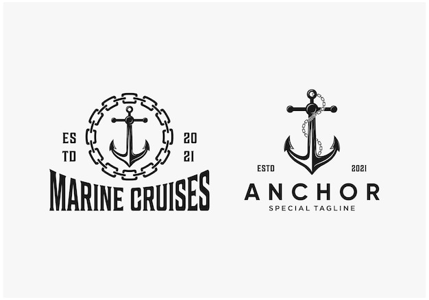Monochrome anchor collection logo design