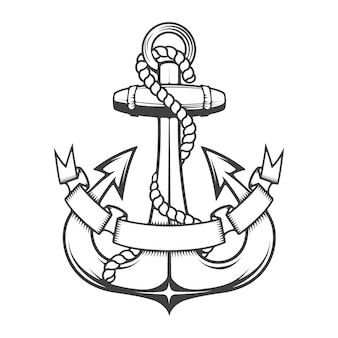 Monochrome anchor with ribbon.