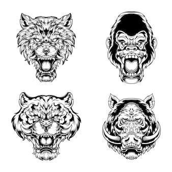 흑백 화가 동물 컬렉션 개념