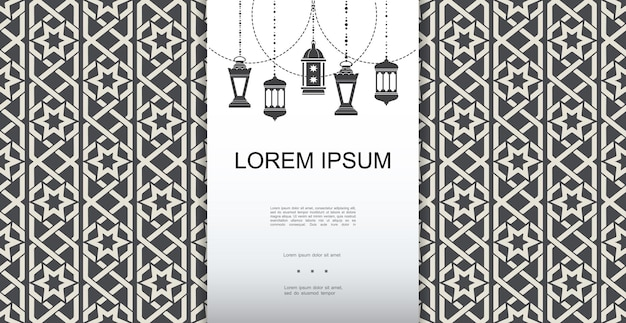 Monochrome arabic elegant template with ramadan hanging lanterns on islamic ornamental background illustration
