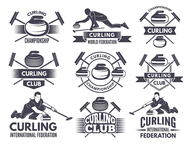 Monochrome badges of curling. labels for sport teams