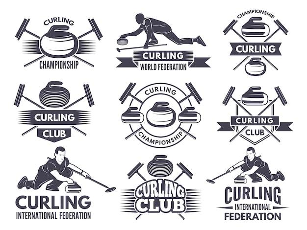 Монохромные значки керлинга. этикетки для спортивных команд