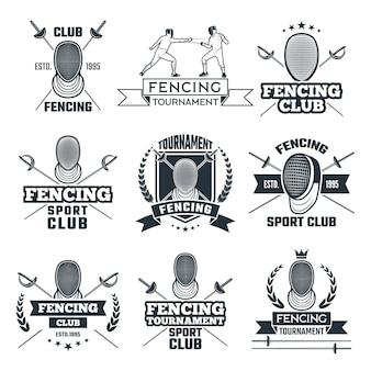 スポーツのフェンシングのモノクロバッジセット