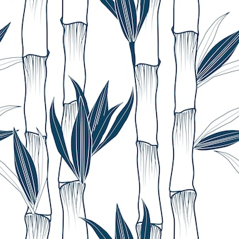 Monochrome bamboo tree vertical seamless pattern