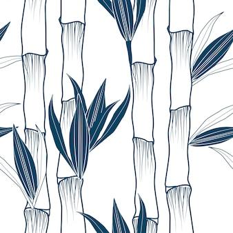 Monochrome bamboo tree vertical seamless pattern