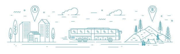 출발 지점에서 목적지 지점의 삼림 캠프까지 버스를 타는 흑백 배너 템플릿. 관광 운송, 여행 운송 서비스. 라인 아트 스타일의 벡터 일러스트 레이 션.