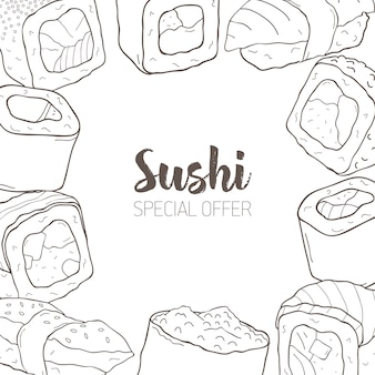 Monochrome banner with frame consisted of different types of japanese sushi and rolls hand drawn with contour lines.