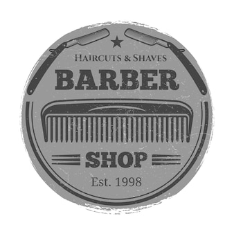 Monochrome barber shop vintage label - hairdressing salon emblem