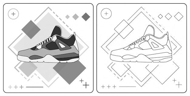 Monochrome basket shoe easy editable