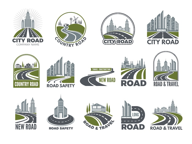 Monochrome big set of logotypes template with asphalt roads