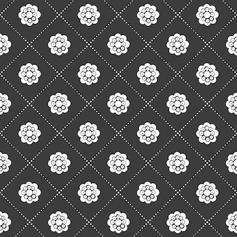 Monochrome black and white seamless flower and grid pattern