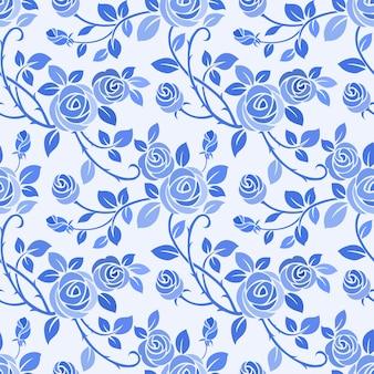 Монохромный синий цвет роза бесшовные модели.