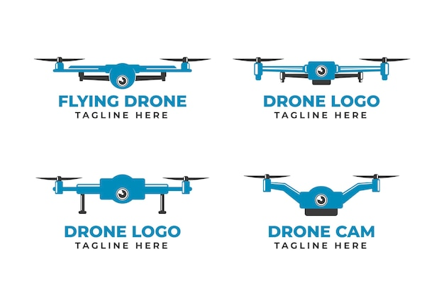 Monochrome blue flat design drone logo collection