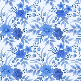 モノクロの青い花と葉のシームレスパターンテクスチャの壁紙の背景。