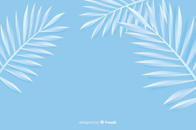 Монохромный синие листья фон в стиле бумаги