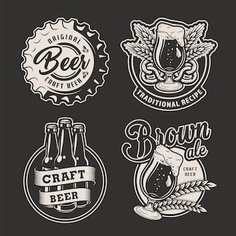 Monochrome brewing badges set