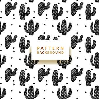 Monochrome cactus pattern background