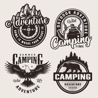 Monochrome camping adventure logos Free Vector
