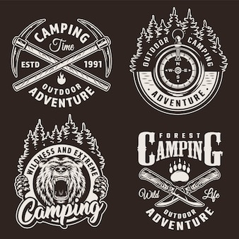 Monochrome camping badges